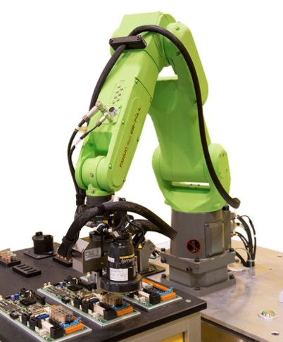 Robot working with electronics